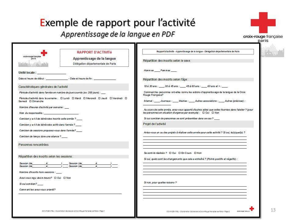 Exemple de rapport pour lactivité Apprentissage de la langue en PDF 13