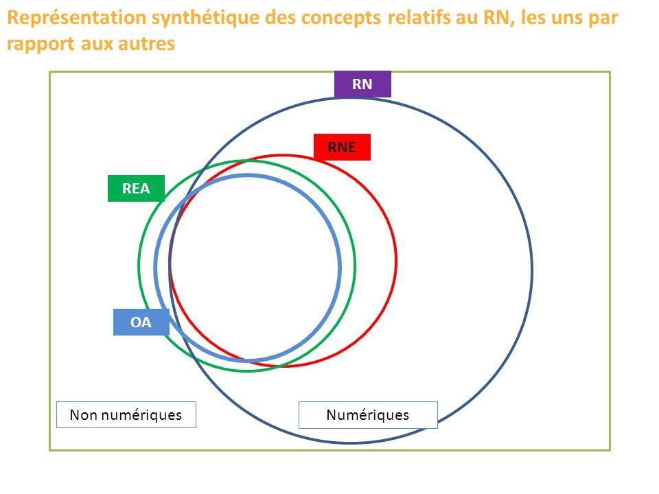 RN RNE REA OA Représentation synthétique des concepts relatifs au RN, les uns par rapport aux autres NumériquesNon numériques
