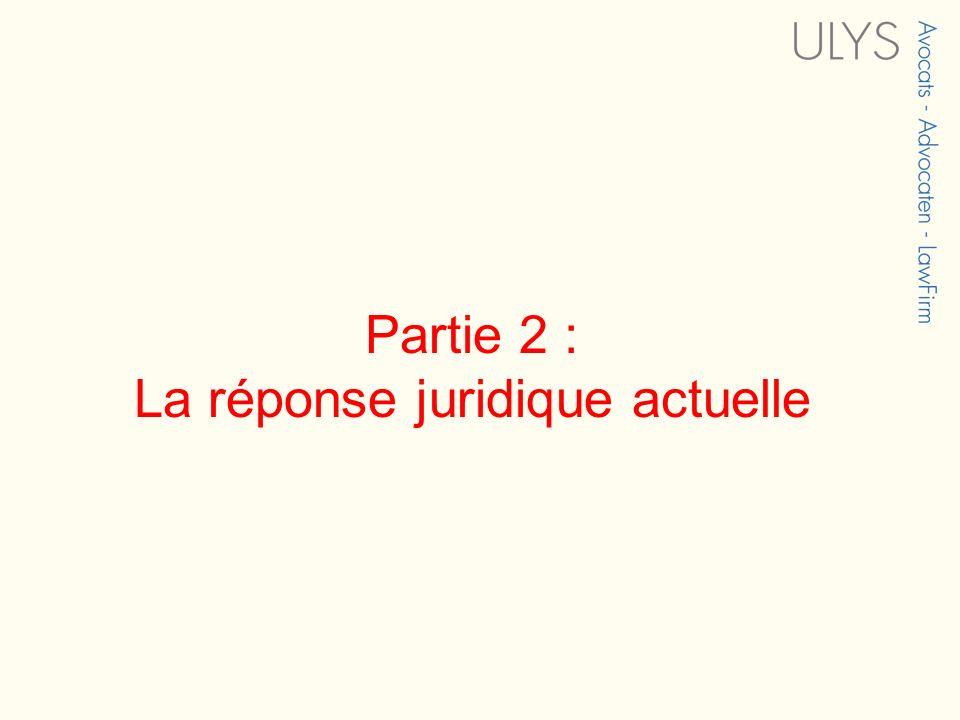 Partie 2 : La réponse juridique actuelle