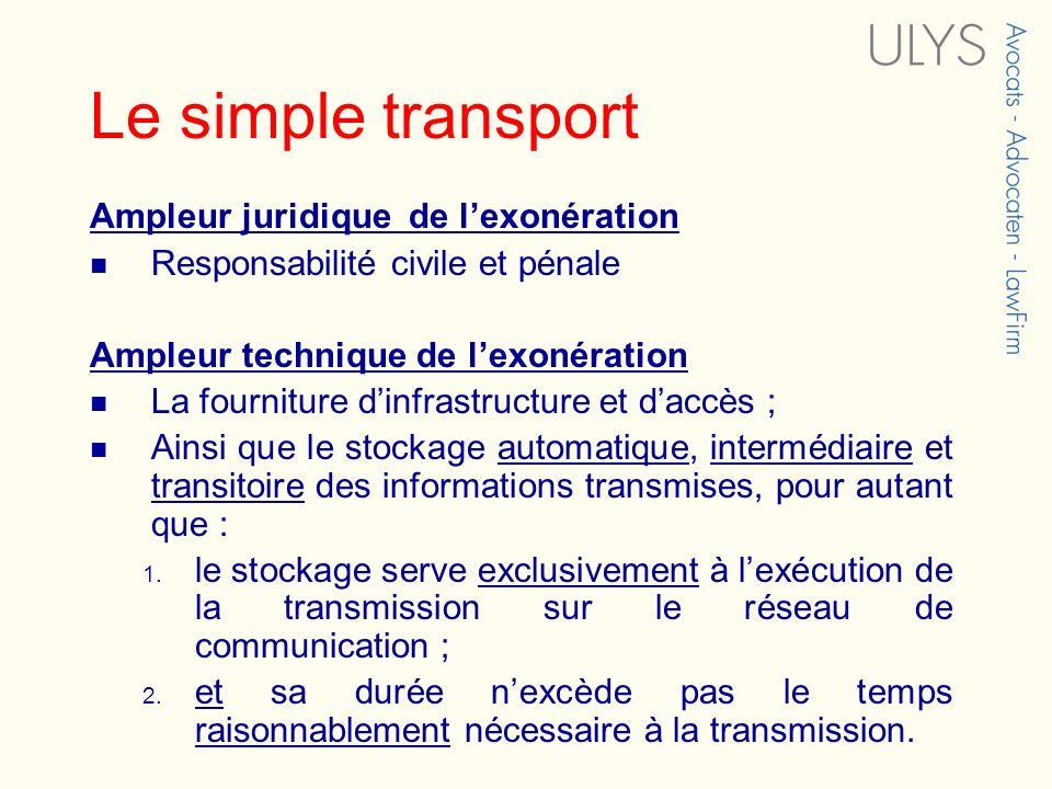 Le simple transport Ampleur juridique de lexonération Responsabilité civile et pénale Ampleur technique de lexonération La fourniture dinfrastructure