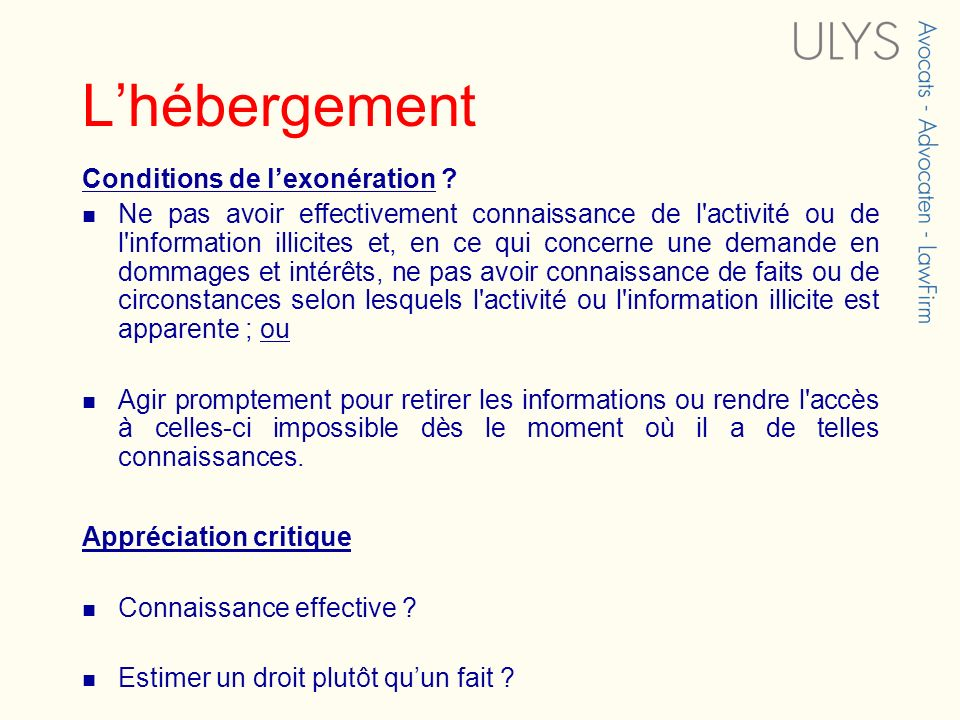 Lhébergement Conditions de lexonération .