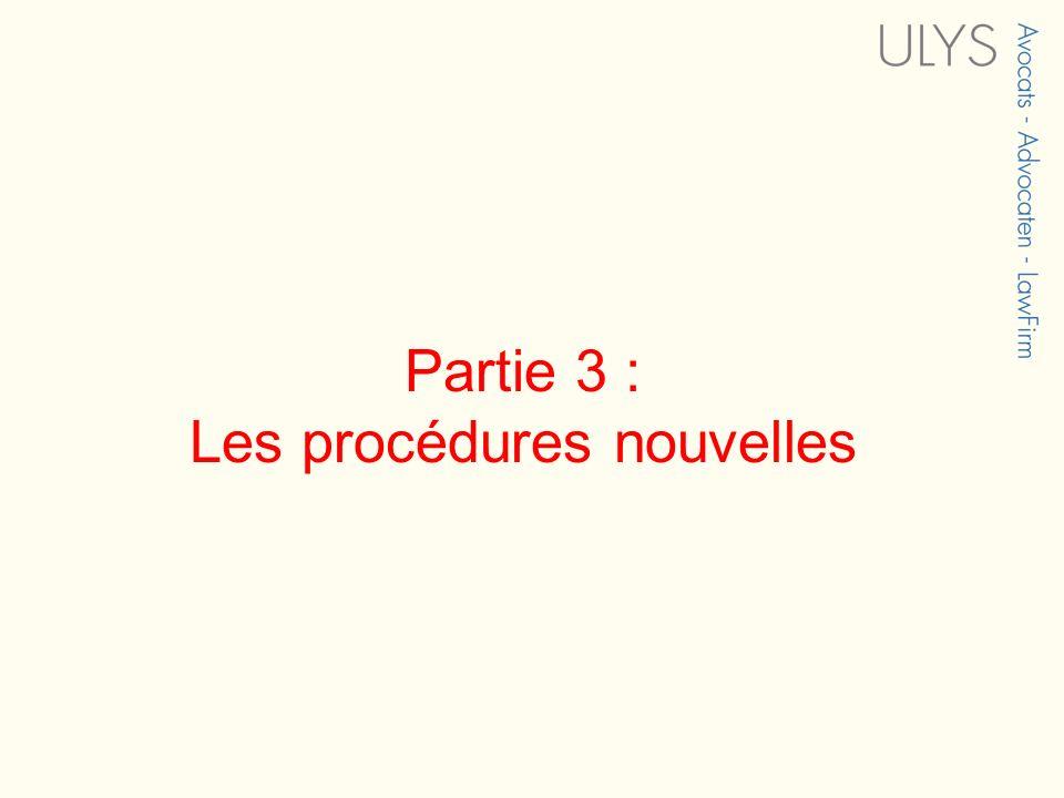 Partie 3 : Les procédures nouvelles