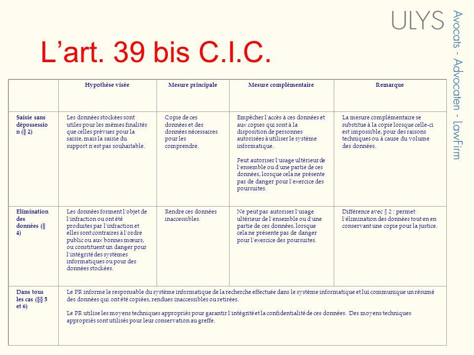 Lart. 39 bis C.I.C. Hypothèse viséeMesure principaleMesure complémentaireRemarque Saisie sans dépossessio n (§ 2) Les données stockées sont utiles pou