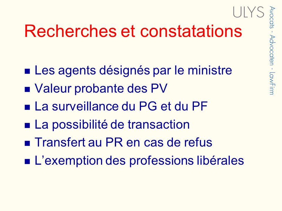 Recherches et constatations Les agents désignés par le ministre Valeur probante des PV La surveillance du PG et du PF La possibilité de transaction Transfert au PR en cas de refus Lexemption des professions libérales