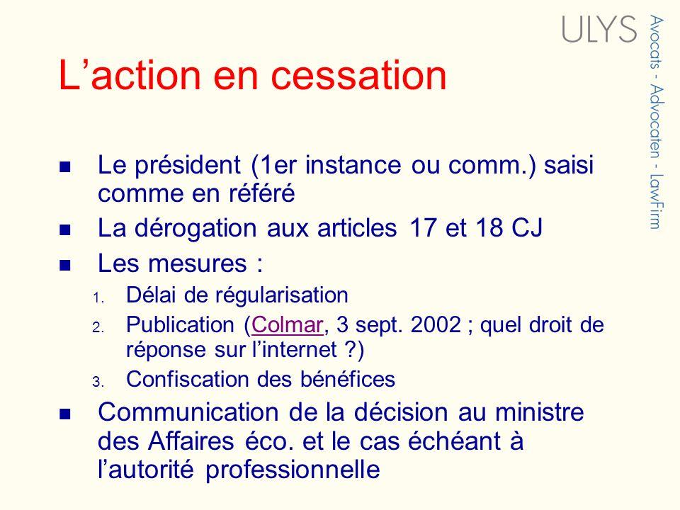 Laction en cessation Le président (1er instance ou comm.) saisi comme en référé La dérogation aux articles 17 et 18 CJ Les mesures : 1. Délai de régul