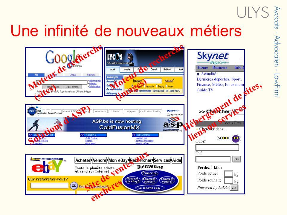 Une infinité de nouveaux métiers Moteur de recherche (sites) Moteur de recherche (images) Site de ventes aux enchères Hébergement de sites, liens ou s