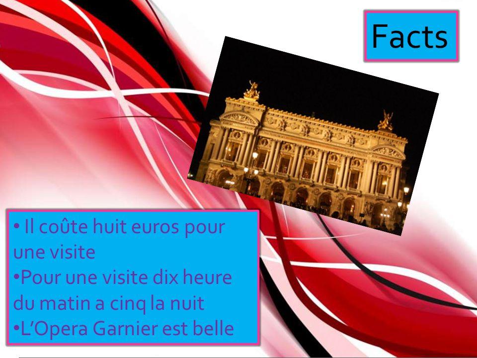 Facts Il coûte huit euros pour une visite Pour une visite dix heure du matin a cinq la nuit LOpera Garnier est belle