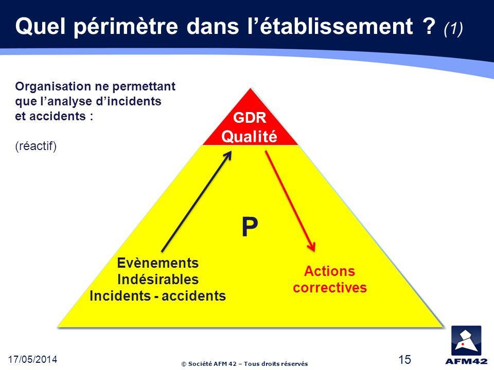 © Société AFM 42 – Tous droits réservés 17/05/2014 15 Quel périmètre dans létablissement .