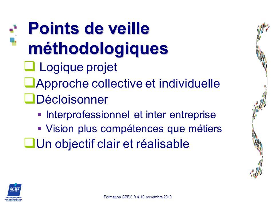 Formation GPEC 9 & 10 novembre 2010 Points de veille méthodologiques Logique projet Approche collective et individuelle Décloisonner Interprofessionne