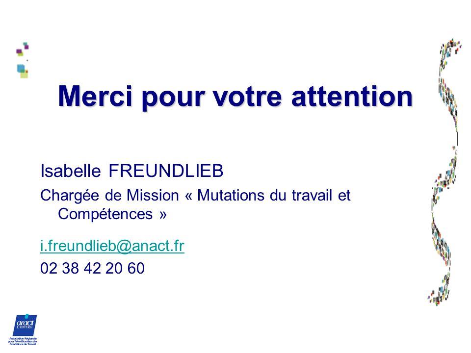 Merci pour votre attention Isabelle FREUNDLIEB Chargée de Mission « Mutations du travail et Compétences » i.freundlieb@anact.fr 02 38 42 20 60