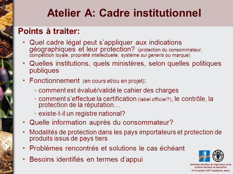 Atelier A: Cadre institutionnel Points à traiter: Quel cadre légal peut sappliquer aux indications géographiques et leur protection.