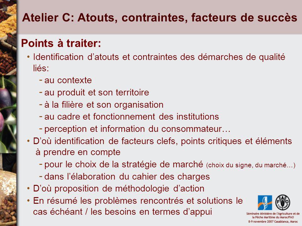 Atelier D: Coopérations Points à traiter: Acteurs impliqués, dans quels domaines .