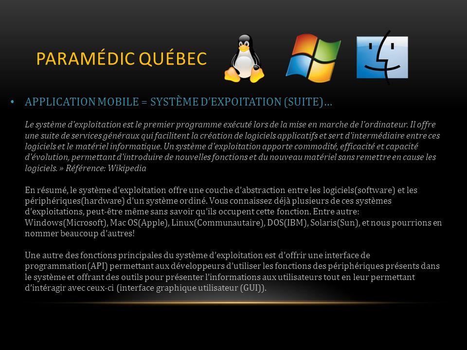 PARAMÉDIC QUÉBEC APPLICATION MOBILE = SYSTÈME DEXPOITATION (SUITE)… Le système d'exploitation est le premier programme exécuté lors de la mise en marc