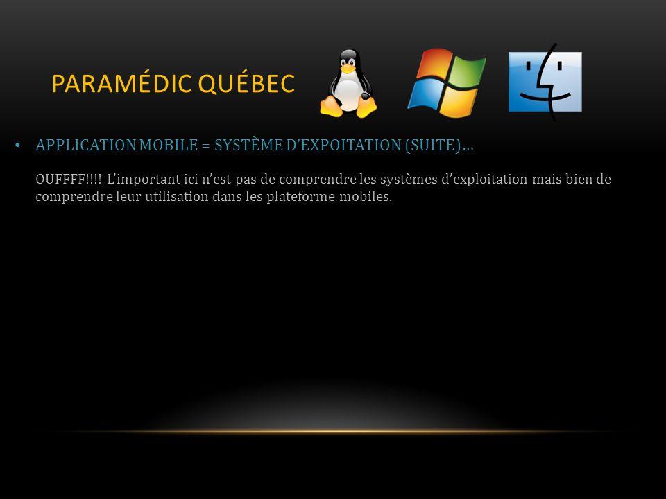 PARAMÉDIC QUÉBEC APPLICATION MOBILE = SYSTÈME DEXPOITATION (SUITE)… OUFFFF!!!.