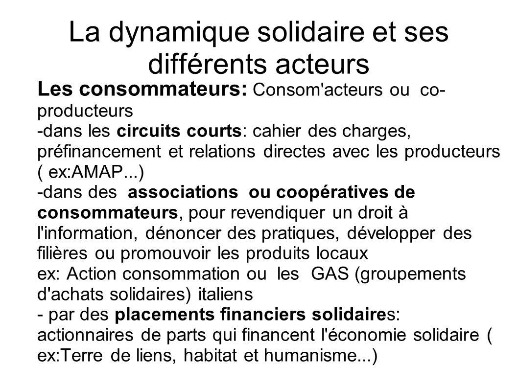 La dynamique solidaire et ses différents acteurs Les consommateurs: Consom'acteurs ou co- producteurs -dans les circuits courts: cahier des charges, p