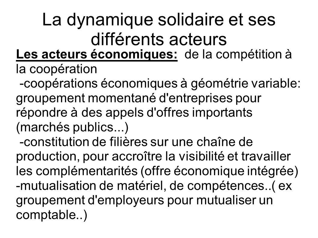 La dynamique solidaire et ses différents acteurs Les acteurs économiques: de la compétition à la coopération -coopérations économiques à géométrie var