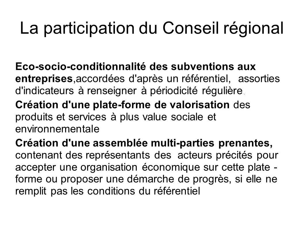 La participation du Conseil régional Eco-socio-conditionnalité des subventions aux entreprises,accordées d'après un référentiel, assorties d'indicateu