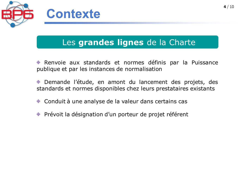 4 / 10 Les grandes lignes de la Charte Renvoie aux standards et normes définis par la Puissance publique et par les instances de normalisation Demande