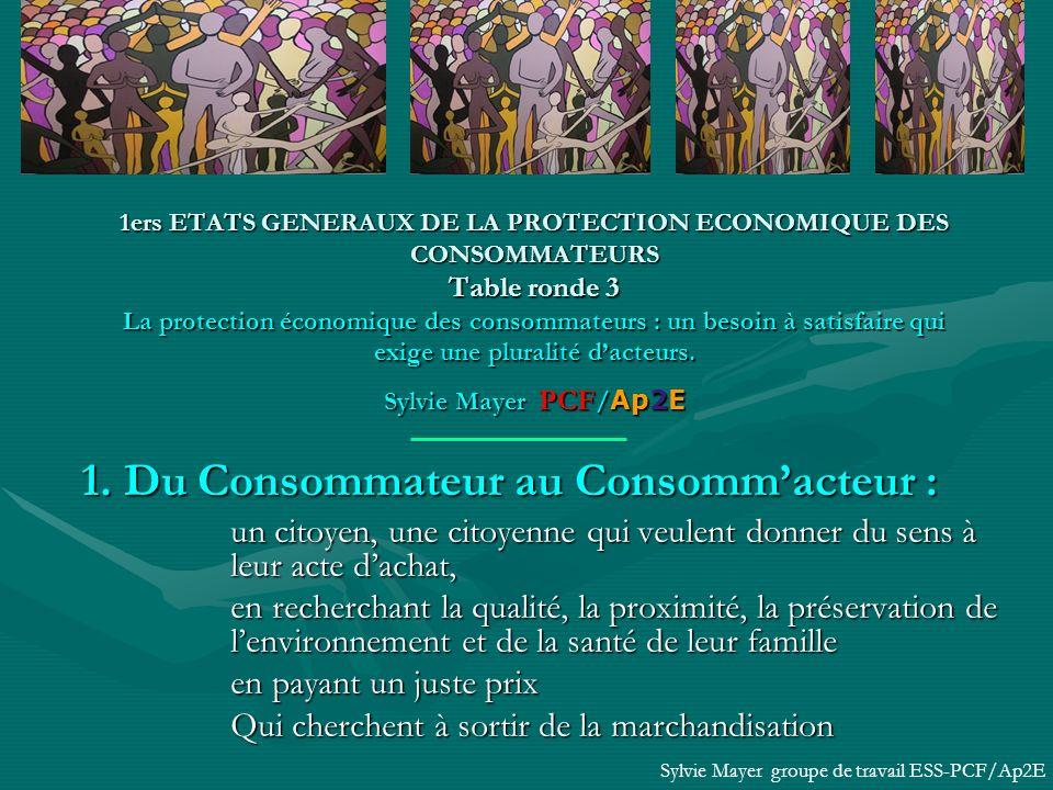 1ers ETATS GENERAUX DE LA PROTECTION ECONOMIQUE DES CONSOMMATEURS Table ronde 3 La protection économique des consommateurs : un besoin à satisfaire qui exige une pluralité dacteurs.