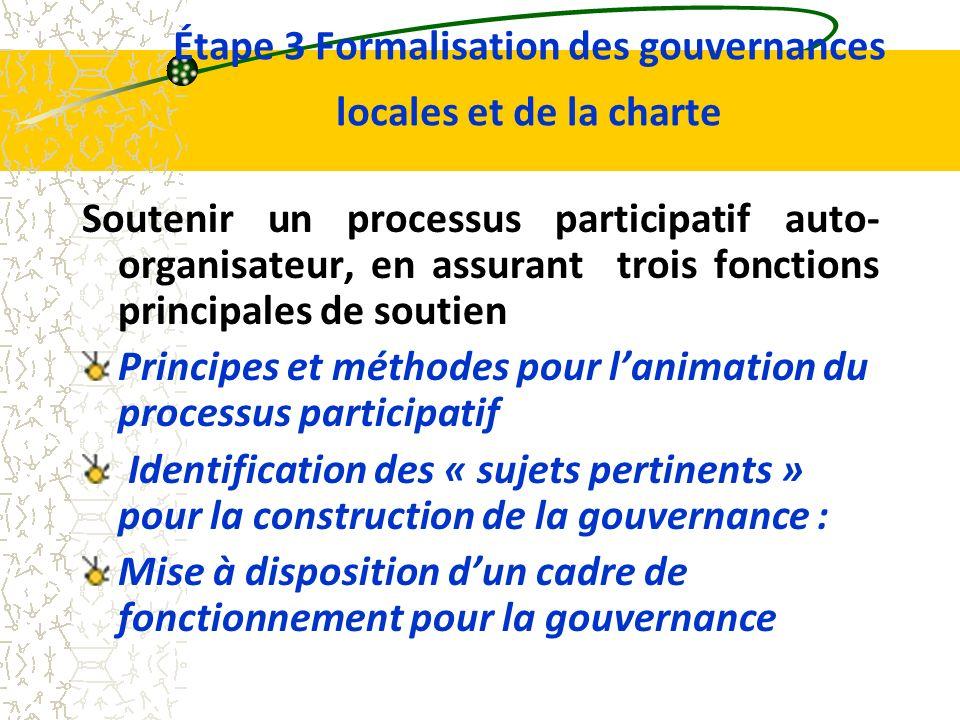 Étape 3 Formalisation des gouvernances locales et de la charte Soutenir un processus participatif auto- organisateur, en assurant trois fonctions principales de soutien Principes et méthodes pour lanimation du processus participatif Identification des « sujets pertinents » pour la construction de la gouvernance : Mise à disposition dun cadre de fonctionnement pour la gouvernance