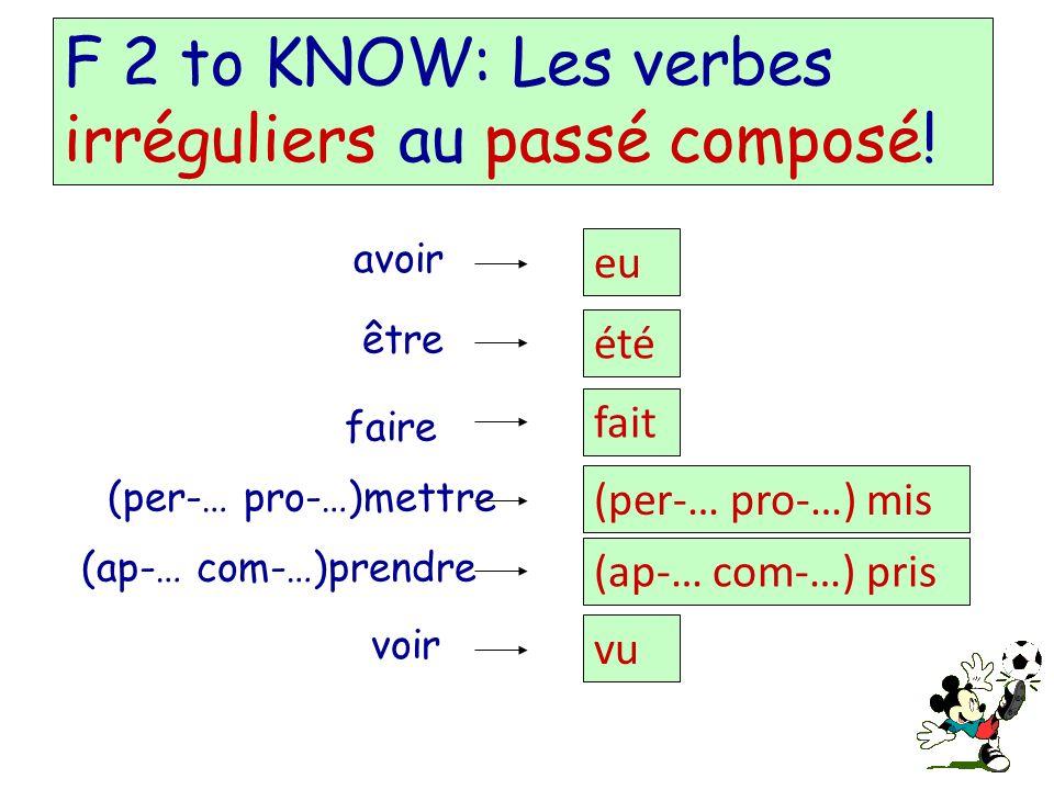 F 2 to KNOW: Les verbes irréguliers au passé composé.