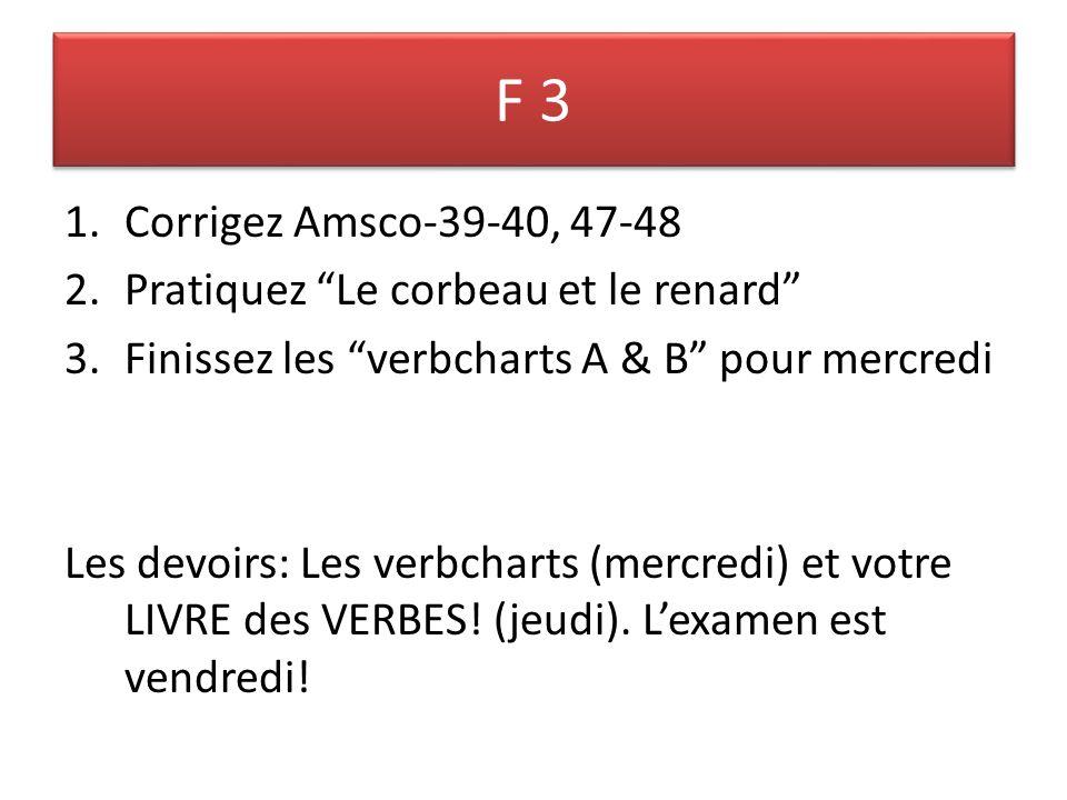 F 3 1.Corrigez Amsco-39-40, 47-48 2.Pratiquez Le corbeau et le renard 3.Finissez les verbcharts A & B pour mercredi Les devoirs: Les verbcharts (mercredi) et votre LIVRE des VERBES.