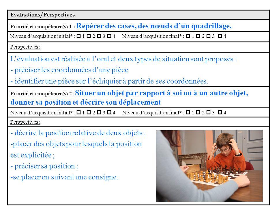 Evaluations / Perspectives Priorité et compétence(s) 1 : Repérer des cases, des nœuds dun quadrillage.