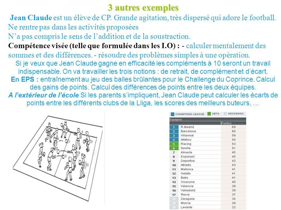 3 autres exemples Jean Claude est un élève de CP.
