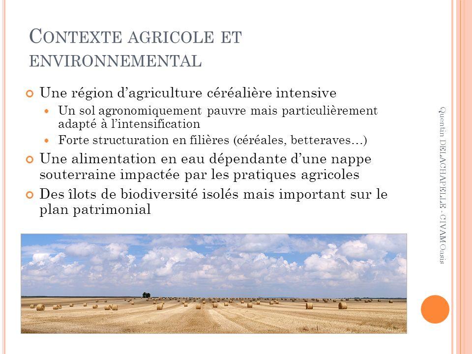 C ONTEXTE AGRICOLE ET ENVIRONNEMENTAL Une région dagriculture céréalière intensive Un sol agronomiquement pauvre mais particulièrement adapté à linten