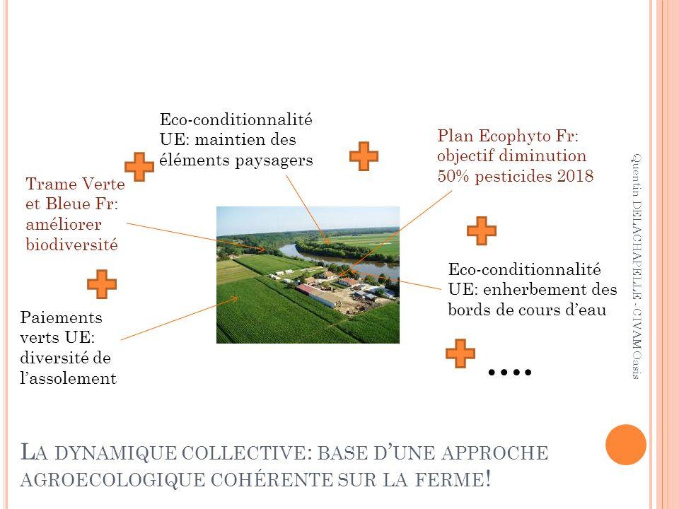 L A DYNAMIQUE COLLECTIVE : BASE D UNE APPROCHE AGROECOLOGIQUE COHÉRENTE SUR LA FERME ! Eco-conditionnalité UE: enherbement des bords de cours deau Eco