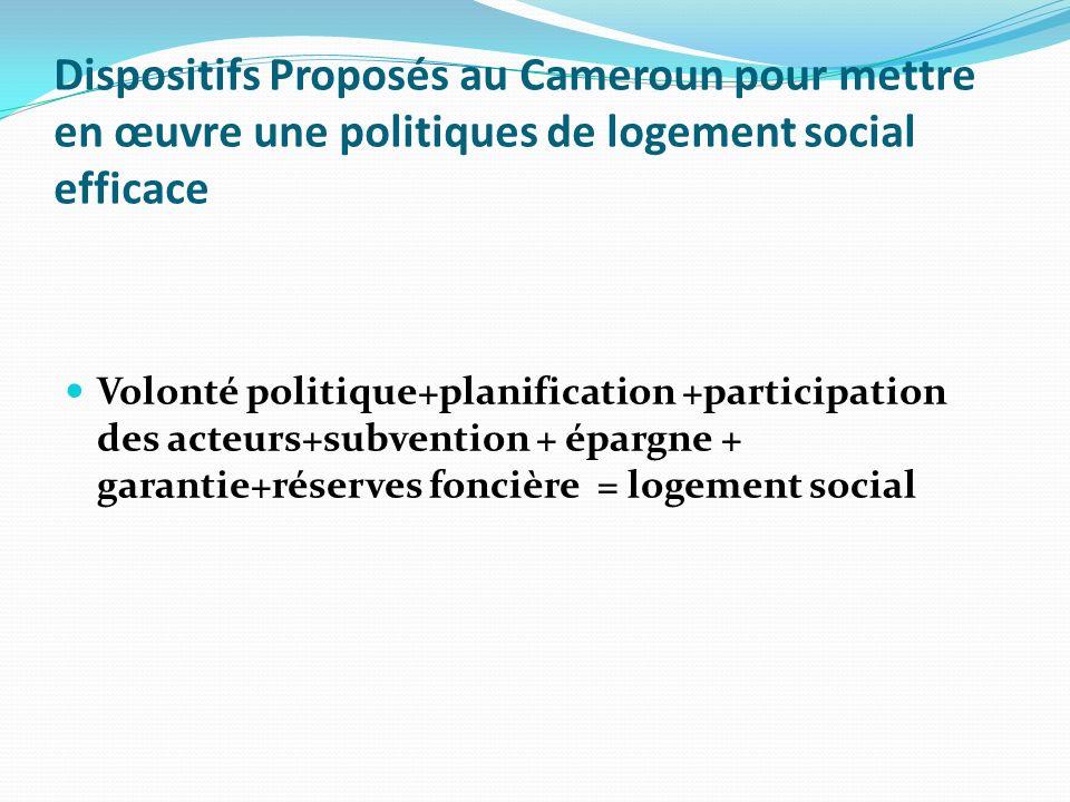 Dispositifs Proposés au Cameroun pour mettre en œuvre une politiques de logement social efficace Volonté politique+planification +participation des acteurs+subvention + épargne + garantie+réserves foncière = logement social