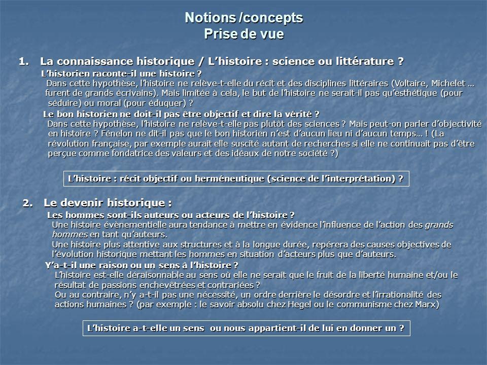 Notions /concepts Prise de vue 1. La connaissance historique / Lhistoire : science ou littérature .