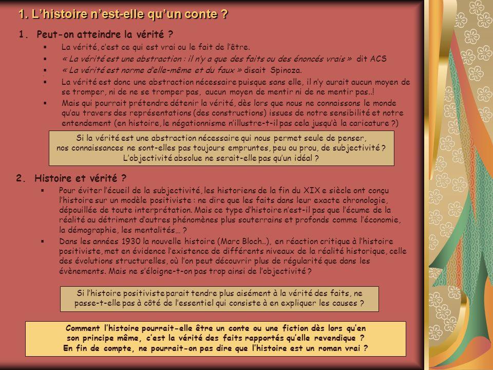 1. Lhistoire nest-elle quun conte . 2.Histoire et vérité .