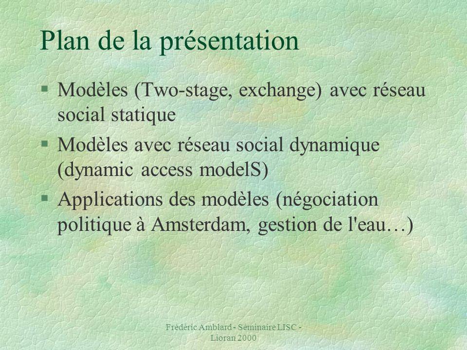 Frédéric Amblard - Séminaire LISC - Lioran 2000 Plan de la présentation §Modèles (Two-stage, exchange) avec réseau social statique §Modèles avec réseau social dynamique (dynamic access modelS) §Applications des modèles (négociation politique à Amsterdam, gestion de l eau…)