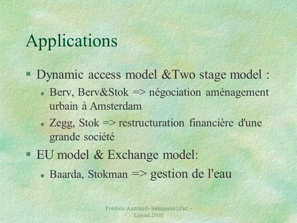 Frédéric Amblard - Séminaire LISC - Lioran 2000 Applications §Dynamic access model &Two stage model : l Berv, Berv&Stok => négociation aménagement urbain à Amsterdam l Zegg, Stok => restructuration financière d une grande société §EU model & Exchange model: l Baarda, Stokman => gestion de l eau