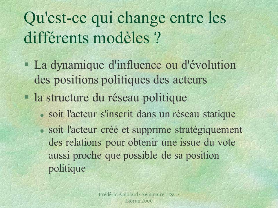 Frédéric Amblard - Séminaire LISC - Lioran 2000 Qu est-ce qui change entre les différents modèles .