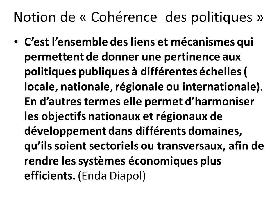 Notion de « Cohérence des politiques » Cest lensemble des liens et mécanismes qui permettent de donner une pertinence aux politiques publiques à différentes échelles ( locale, nationale, régionale ou internationale).
