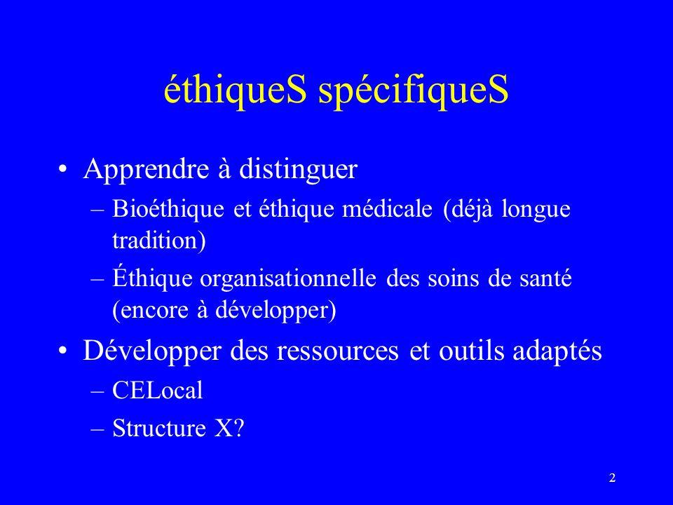 les niveaux déthique éthique de laction > éthique de laction « non-marchande » > éthique de laction soignante éthique de lorganisation de laction soignante : –management –leadership –politique de développement institutionnel 3