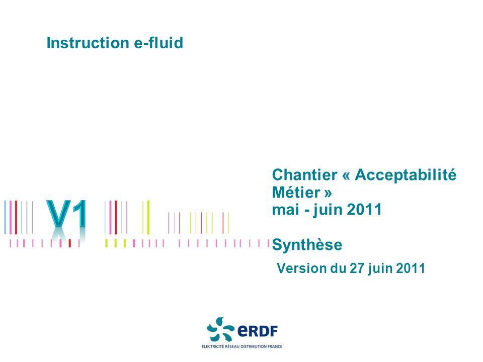 Chantier « Acceptabilité Métier » mai - juin 2011 Synthèse Version du 27 juin 2011 Instruction e-fluid