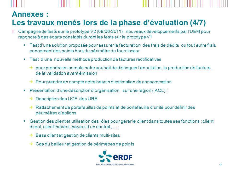 Annexes : Les travaux menés lors de la phase dévaluation (4/7) 16 Campagne de tests sur le prototype V2 (08/06/2011) : nouveaux développements par lUE