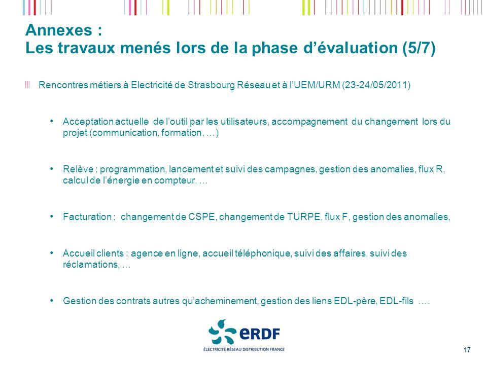 Annexes : Les travaux menés lors de la phase dévaluation (5/7) 17 Rencontres métiers à Electricité de Strasbourg Réseau et à lUEM/URM (23-24/05/2011)