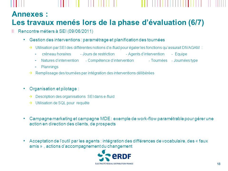 Annexes : Les travaux menés lors de la phase dévaluation (6/7) 18 Rencontre métiers à SEI (09/06/2011) Gestion des interventions : paramétrage et plan