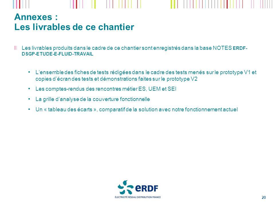 Annexes : Les livrables de ce chantier 20 Les livrables produits dans le cadre de ce chantier sont enregistrés dans la base NOTES ERDF- DSGP-ETUDE-E-F