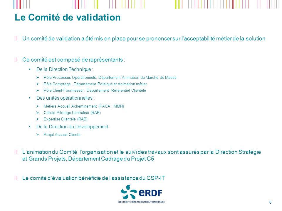 Le Comité de validation 6 Un comité de validation a été mis en place pour se prononcer sur lacceptabilité métier de la solution Ce comité est composé