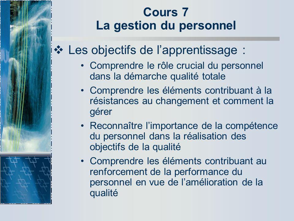Cours 7 La gestion du personnel Les objectifs de lapprentissage : Comprendre le rôle crucial du personnel dans la démarche qualité totale Comprendre l
