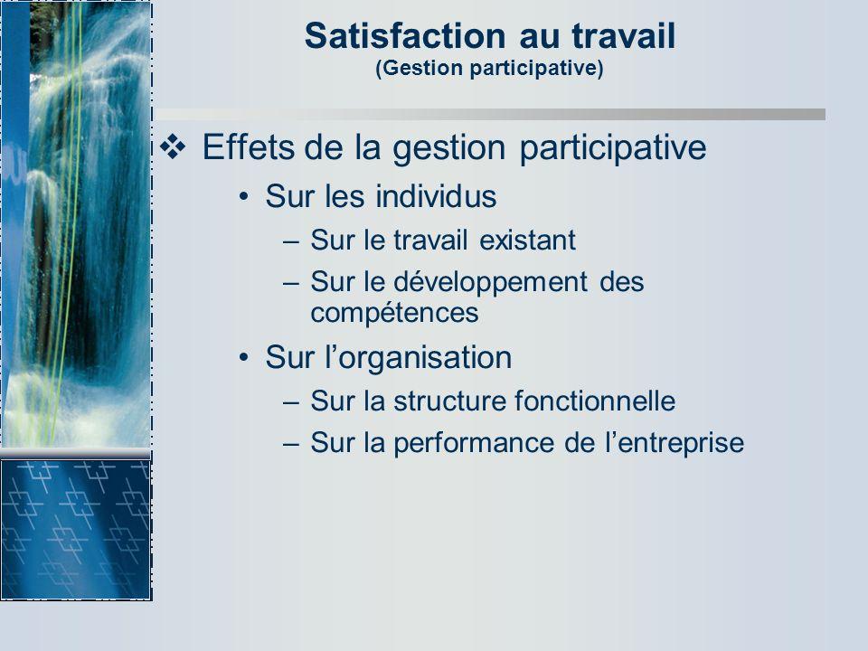 Satisfaction au travail (Gestion participative) Effets de la gestion participative Sur les individus –Sur le travail existant –Sur le développement de