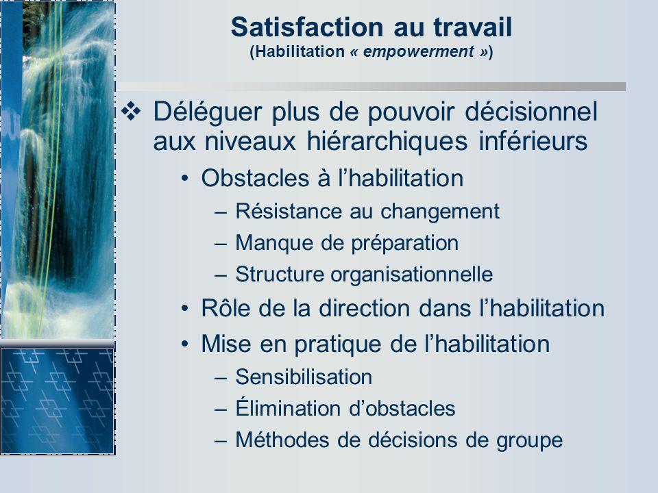 Satisfaction au travail (Habilitation « empowerment ») Déléguer plus de pouvoir décisionnel aux niveaux hiérarchiques inférieurs Obstacles à lhabilita