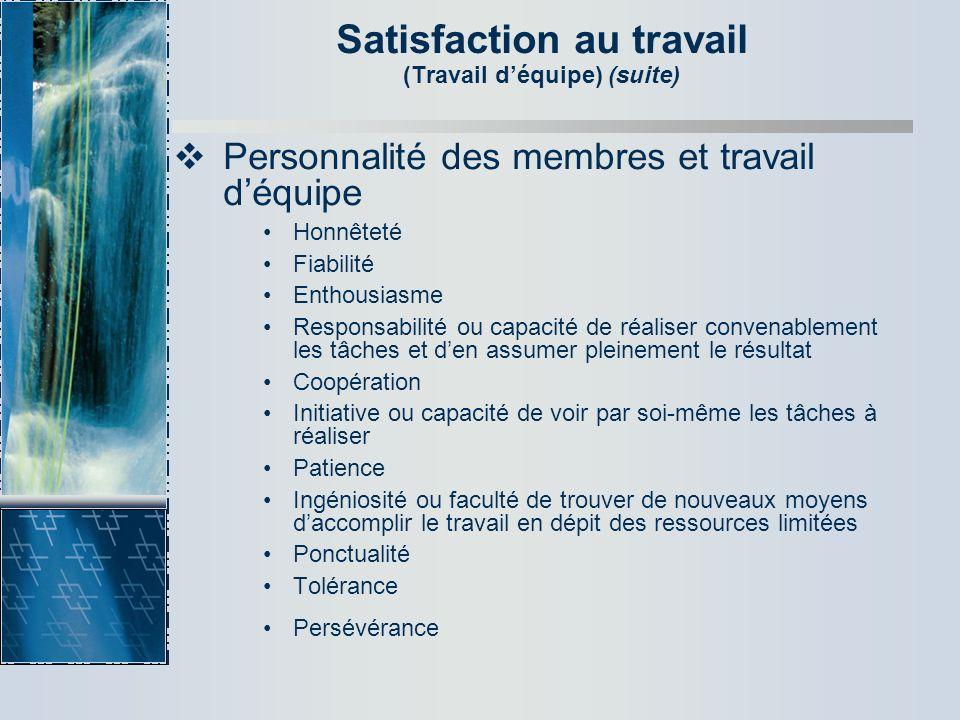 Satisfaction au travail (Travail déquipe) (suite) Personnalité des membres et travail déquipe Honnêteté Fiabilité Enthousiasme Responsabilité ou capac
