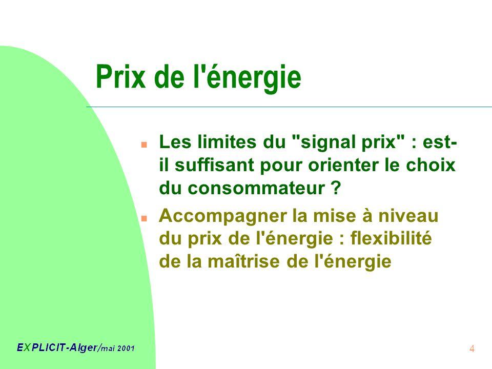 4 Prix de l énergie n Les limites du signal prix : est- il suffisant pour orienter le choix du consommateur .