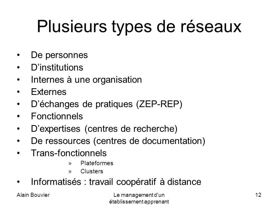 Alain BouvierLe management d'un établissement apprenant 12 Plusieurs types de réseaux De personnes Dinstitutions Internes à une organisation Externes